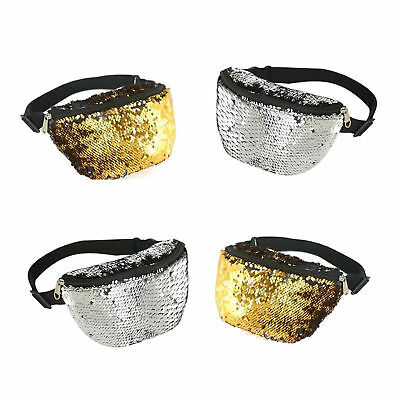 Gold Silver Sequin Bum Bag Fanny Pack Pouch 80s Festival Holiday Money Wallet