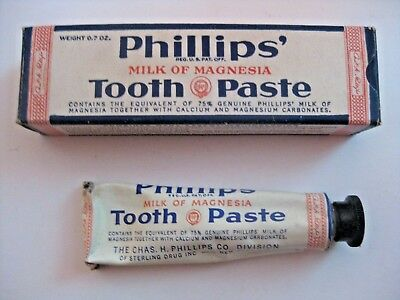 Vintage Phillip's Milk Of Magnesia Tooth Paste Advertising Tube & Box