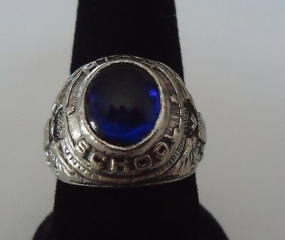 Antique Uncas High School Ring Blue Stone Size 10 - Mens/Womans