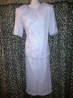 RARE 2pc Gorgeous Top Skirt Suit Beaded Sequin 100% Silk Outfit Wmns Size Large