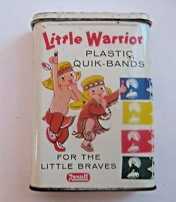 Rare Vintage Rexall Little Warrior Medical Bandages Advertising Tin ~ L@@k ~