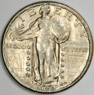 1929 Standing Liberty Quarter ~ Sharp Au/bu About Uncirculated ~ Priced Right!