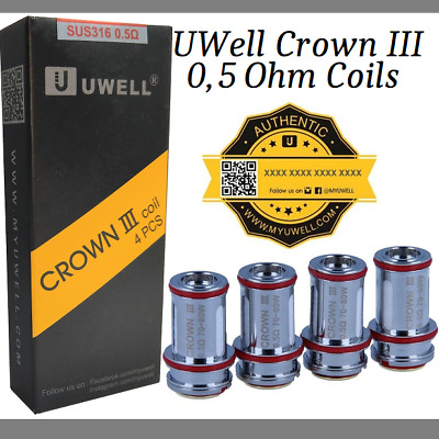 UWell Crown 3 Parallel Heads 0,5 Ohm original 4er Pack Coils Verdampferköpfe