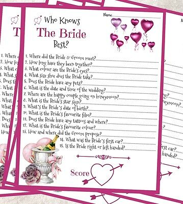 15 x who knows the bride best hen party bridal shower game