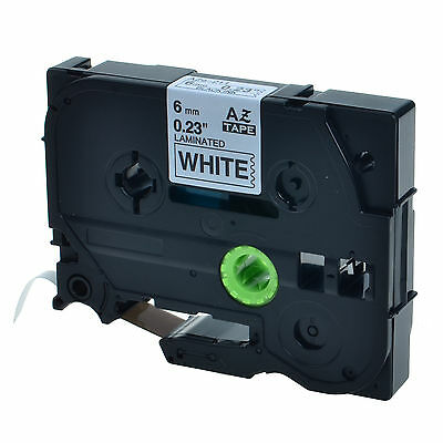 """1PK TZ TZe 211 Black on White Label Tape For Brother P-Touch PT-520 1/4"""" 6mm"""