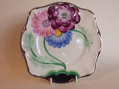 Art Deco Grays Susie Cooper style scalloped edge plate Pink blue maroon 9341