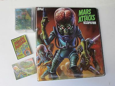 Mars Attacks occupation complete base + ATTACKY PKS + DINOSAURS+Binder ALL FOIL