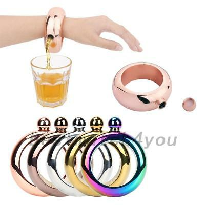 Stainless Steel Bracelet Alcohol Liquor Whiskey Hip Flask Bangle Jug Jewelry
