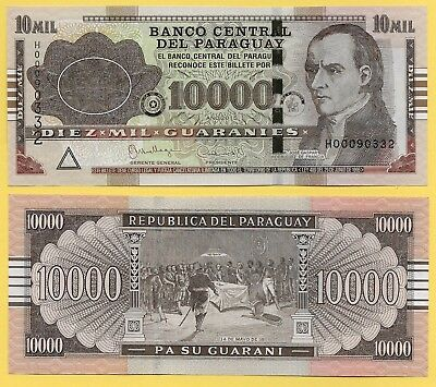 Paraguay	10000 (10'000) Guaranies p-224f 2015 UNC Banknote