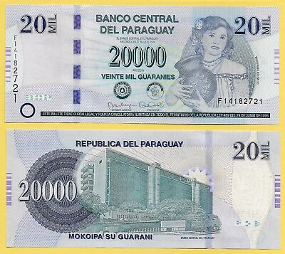 Paraguay	20000 (20'000) Guaranies p-238 2015 (Serie F) UNC Banknote