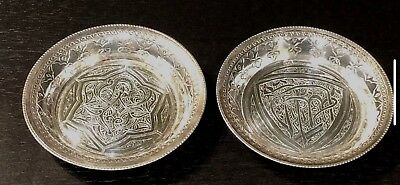 Pair of Egyptian Solid Silver hallmarked decorated dishes/coasters