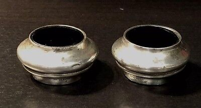 Pair ofGeorge VI SILVER & Blue Glass Salt sellers/condiments pots 1938
