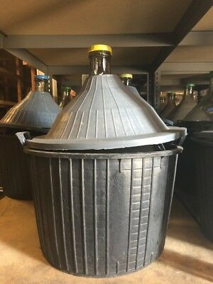 60 Glass Demijohn 14 Gallons- With basket with removable top& plastic dust cover