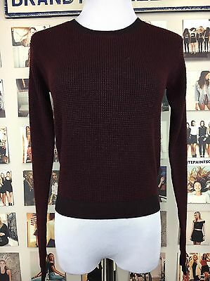 9ddf386e8 BRANDY MELVILLE MAROON Burgundy Ribbed pullover Knit Sweater Nwt ...