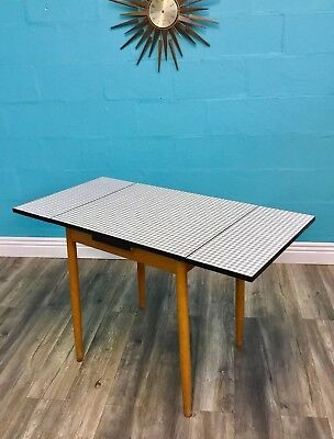 Stylish Retro Vintage Mid Century Kandya 50S Beech And Chequered Formica Table