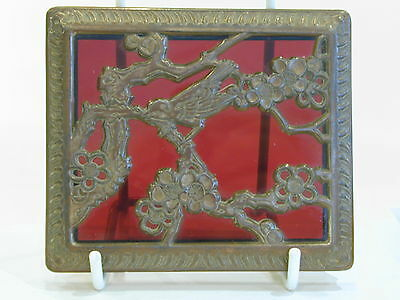 Japanese Vintage red glass trinket box with birds in metal filigree/ormolu