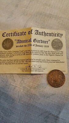 East India Trading Company Treasure Coin From The Admiral Gardner Shipwreck 1808