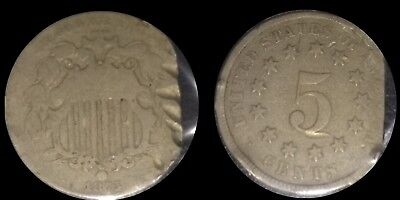 """Rare Old 1875 5 Cent Shield Nickel 5C """"clipped"""" Old Type Coin In Good Condition"""