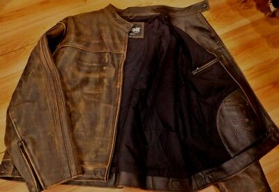 Schott NYC Cowhide antiqued Leather distress RARENEW   RACER Jacket  size 4XL