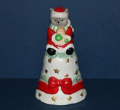 Vintage Christmas Santa Claus Cat holding Doll Collector Bell 4.5""