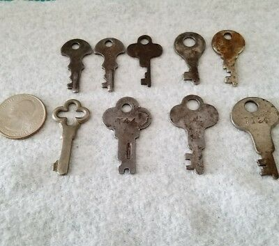 Vintage Luggage/Cabinet Keys Lot Of 9 Flat Keys