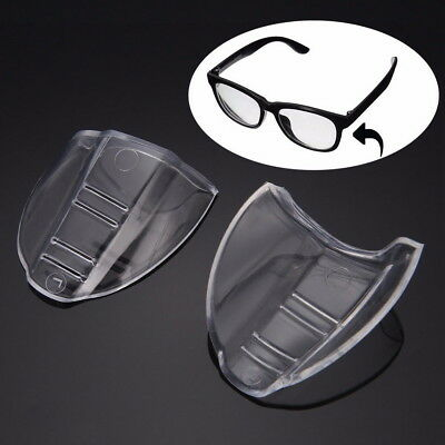 2 Pairs Clear Side Shields Universal Fit Flexible For Eye Glasses Safety Glasses