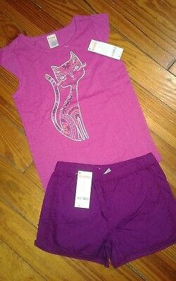 NWT Gymboree Girls Outfit Size 6 Cap Sleeve Shirt Shorts Cat Purple Pink