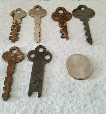 Vintage Luggage/Cabinet Keys Lot Of 6 Flat Keys