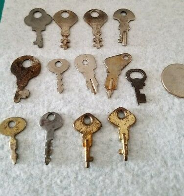 Vintage LUGGAGE / CABINET KEYS LOT Of 13 FLAT & SOLID BARREL KEYS