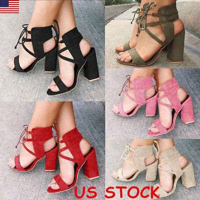 USA Womens Peep Toe Slingbacks Block High Heel Lace up Sandals Party Shoes Size