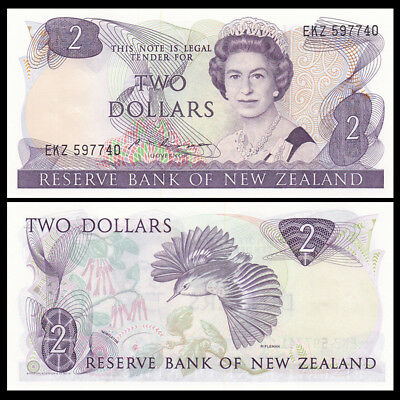 New Zealand 2 Dollars, ND(1985-89), P-170b, UNC
