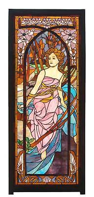 Alphonse Mucha Morning ART, Stained Glass Window Panel w/ wooden frame