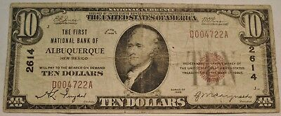 1929 $10 National Currency Albuquerque, NM Ch# 2614 New Mexico Bank Note Scarce