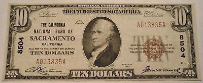 1929 $10 National Currency Sacramento, CA Ch# 8504 Scarce California Bank Note