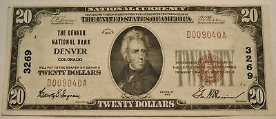 1929 $20 National Currency Denver, CO Ch# 3269 Scarce Colorado Bank Note, Twenty