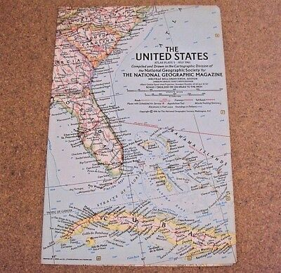 VINTAGE UNITED STATES WALL MAP National Geographic July 1961 - $3.95 ...