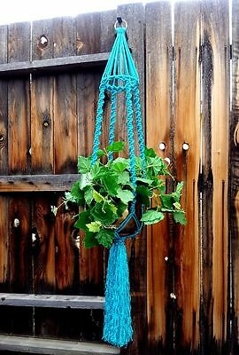 """Large Macrame Plant Hanger~Rich Turquoise~Bird Cage Top~Solid Twist Pattern~54"""""""