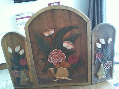 Beautiful Antique Hand Carved and Painted Solid Wood Screen / Fire Screen UNIQUE