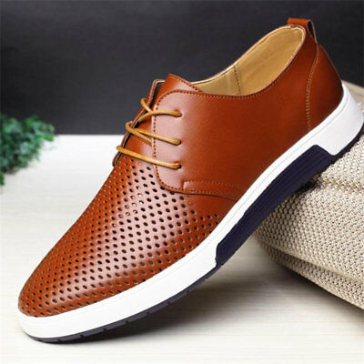 9276fce8a87fd TRENDY MEN CASUAL Genuine Leather Shoes Lace-up Sneakers Oxford ...