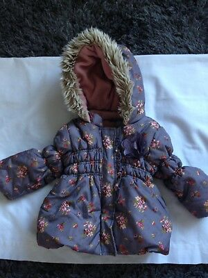 Girls Next  Grey Mix Floral Padded Hooded Fleece Lined Jacket 9/12 Months