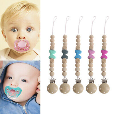 Baby Teething Dummy Pacifier Clip Bead Infant Soother Nipple Strap Chain Gifts
