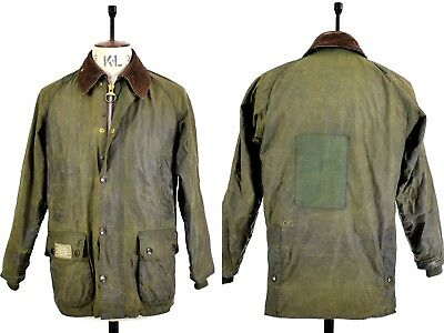 Men's BARBOUR BEDALE Olive Green WAXED COTTON Outdoor Farmer Shooting Jacket 36