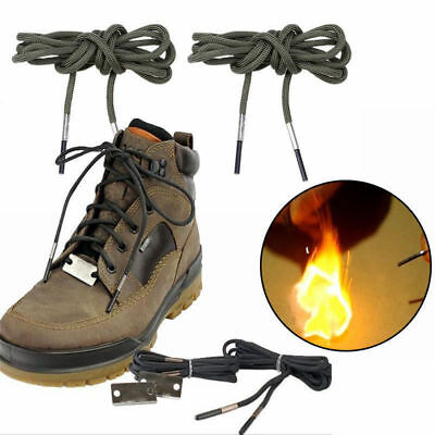 7 Strand Survival Paracord Boots Shoelace Lace Fire Starter Scraper Emergency