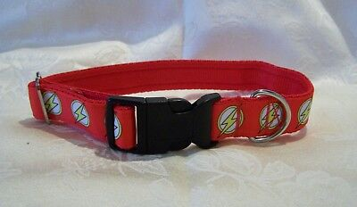 the flash dc inspired dog collar or lead red medium/large dogs
