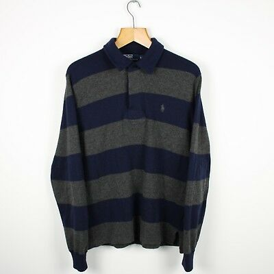 Vintage RALPH LAUREN Lana Wool Long Sleeve Striped Rugby Polo Shirt | Large L