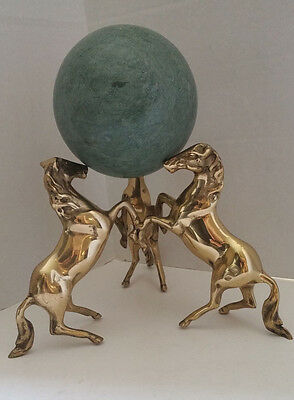 3 Horses Brass Sculpture - Sphere Holder, Green Marble Sphere