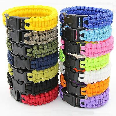Paracord Survival Bracelet Rope Wristband Kit Mens Camping Hiking Emergency Gear