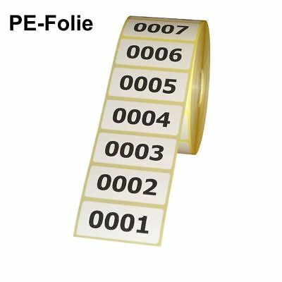 Polyester Labels (Pe-Foil) on Roll - Numbered - 56 x 25 MM