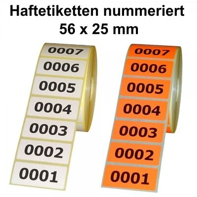 Sticker/Labels on Roll - Continuously Numbered - 56 x 25 MM