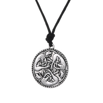 Vintage Silver Book of Kells Three Cat Animal Talisman Pendant Charm Necklaces
